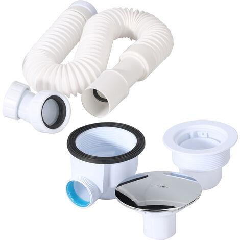 SIRHONA Ensemble de drain pour bac à douche 90mm. siphon de vidange DIN40 / 50