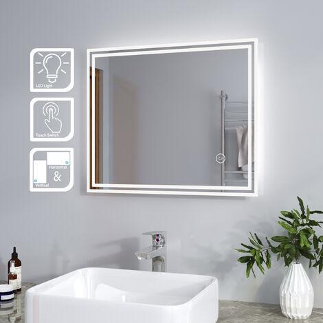 SIRHONA Espejo de Baño 50x60cm Espejo de Baño con Iluminación LED,Espejo de Pared con Interruptor Táctil,Espejo de Luz de Baño Espejo Grandes de Pared, Clasificación de Impermeabilidad IP44