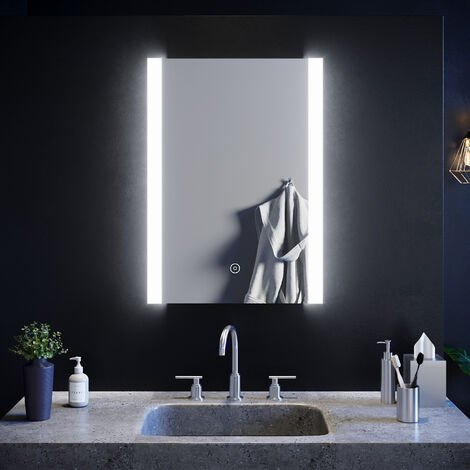 SIRHONA Espejo de Baño 50x70cm Espejo de Baño con Iluminación LED,Espejo de Pared con Interruptor Táctil,Espejo de Luz de Baño Espejo Grandes de Pared, Clasificación de Impermeabilidad IP44