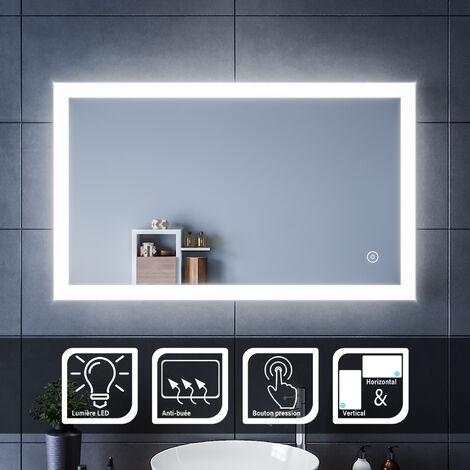 SIRHONA Espejo de Baño 60x100cm Espejo Baño con Iluminación LED, Espejo de Pared con Interruptor Táctil,Espejo de Luz de Baño con ANTIVAHO Luz Espejo de Pared con Accesorios