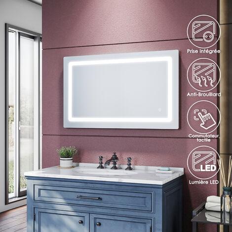 SIRHONA Espejo de Baño con Luz LED 100x60cm, Espejo Pared Antivaho con Interruptor de Táctil, Carga de Afeitadora