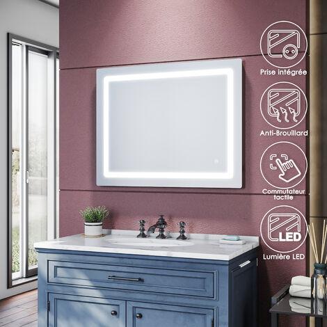 SIRHONA Espejo de Baño con Luz LED 90x70cm, Espejo Pared Antivaho con Interruptor de Táctil, Carga de Afeitadora