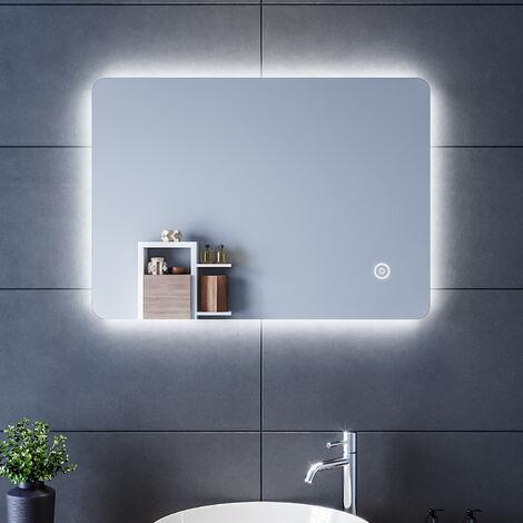 SIRHONA Espejo de Baño Pared 70x50cm con Iluminación LED,Espejos de Aumento de Pared con Salida de Afeitadora,3X Espejo Aumento Adecuado para Baño Tocador Dormitorio Baño