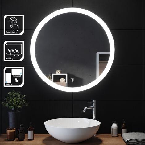 SIRHONA Espejo Redondo Baño Pared con Interruptor Táctil Función Anti-Vaho Espejo de Baño Moderno con Iluminación LED Adecuado para Baño Tocador Dormitorio 70x70cm