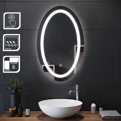 SIRHONA Espejo Redondo de Baño con Luz LED 80x60cm, Espejo Pared con Interruptor Táctil