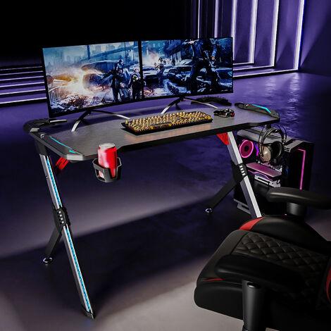 SIRHONA Gaming Desk da Gioco con LED, Gaming Tavolo RGB con Portabicchieri e Gancio per Cuffie, Nero 120x60x75 cm - Progettato per Giocare