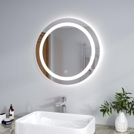 SIRHONA LED Espejo Redondo Baño con Interruptor Táctil Sensiblae and Función Anti-Niebla Espejo de Baño con Iluminación LED Espejo Redondo con Diseño Elegante y Moderno 60x60cm