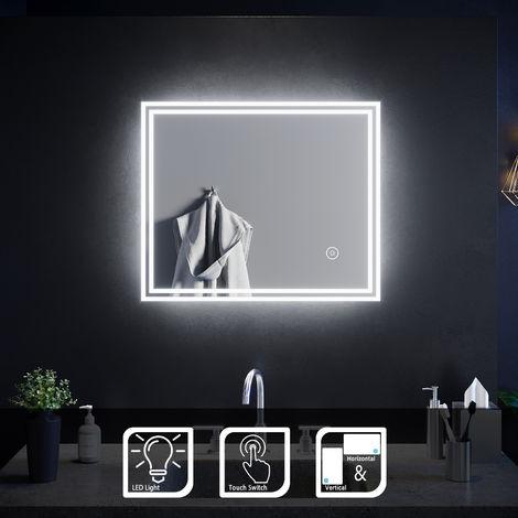 SIRHONA Miroir de salle de bain 60x50 cm Miroir led avec interrupteur tactile éclairage intégré blanc froid