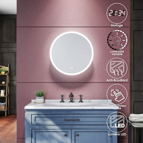 SIRHONA Miroir de salle de bains 600 x 600 x 4mm/600 x 600 x 4mm - Miroirs cosmétiques muraux - Miroir avec led illumination - Trois températures de couleur - Avec prise rasoir - Anti-poussière et antibuée