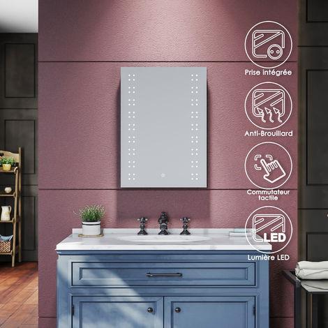 SIRHONA Miroir de salle de bains Miroirs cosmétiques muraux - Miroir avec led illumination - Anti-buée avec éclairage led