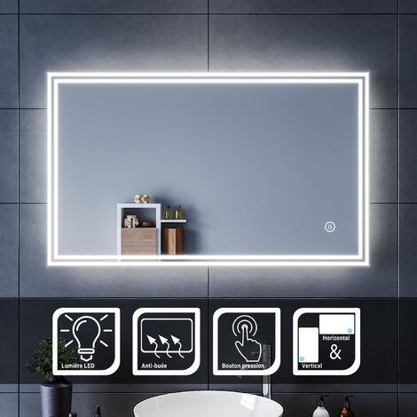 SIRHONA Miroir led 100x60 CM Miroir de salle de bains avec éclairage LED Miroir Cosmétiques Mural Lumière Illumination avec Commande par Effleurement et demister