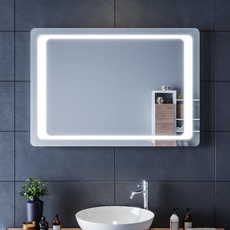 SIRHONA Miroir led 100x70 CM Miroir de salle de bains avec éclairage LED Miroir Cosmétiques Mural Lumière Illumination avec Commande par Effleurement et demister