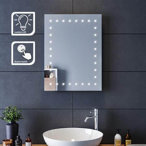 SIRHONA Miroir led 45x60 CM Miroir de salle de bains avec éclairage LED Miroir Cosmétiques Mural Lumière Illumination avec Commande par Effleurement