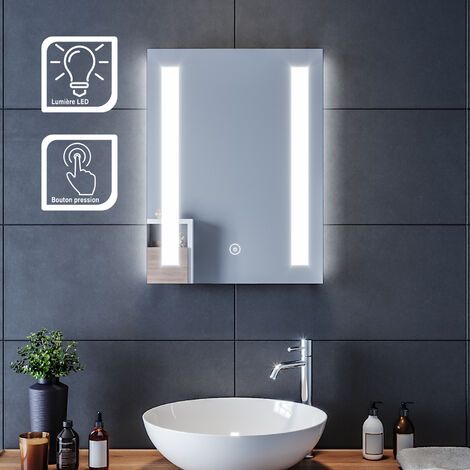 SIRHONA Miroir led 45x60 Miroir de salle de bains avec éclairage LED Miroir Cosmétiques Mural Lumière Illumination avec Commande par Effleurement