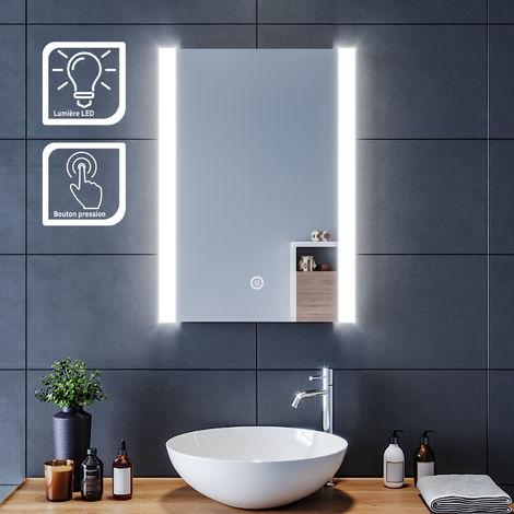 SIRHONA Miroir led 50x70 CM Miroir de salle de bains avec éclairage LED Miroir Cosmétiques Mural Lumière Illumination avec Commande par Effleurement