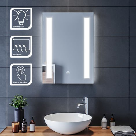 SIRHONA Miroir led 50x70 CM Miroir de salle de bains avec éclairage LED Miroir Cosmétiques Mural Lumière Illumination avec Commande par Effleurement et demister