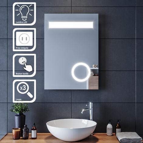 SIRHONA Miroir led 50x70 CM Miroir de salle de bains avec éclairage LED Miroir Cosmétiques Mural Lumière Illumination avec Prise Rasoir?Bouton de commutation