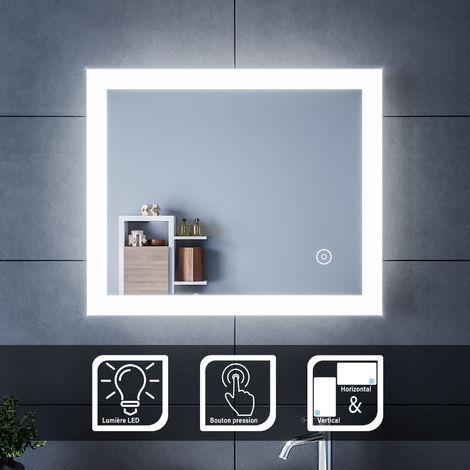 SIRHONA Miroir led 60x50 CM Miroir de salle de bains avec éclairage LED Miroir Cosmétiques Mural Lumière Illumination avec Commande par Effleurement