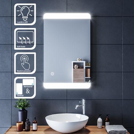 SIRHONA Miroir led 80x50 CM Miroir de salle de bains avec éclairage LED Miroir Cosmétiques Mural Lumière Illumination avec Commande par Effleurement et demister