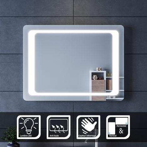 SIRHONA Miroir led 80x60 CM Miroir de salle de bains avec éclairage LED Miroir Cosmétiques Mural Lumière Illumination avec Commande par Effleurement et demister