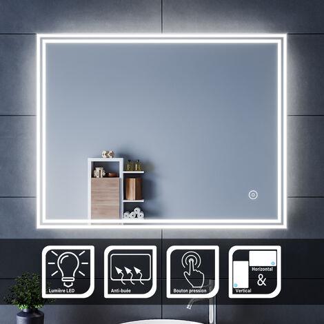 SIRHONA Miroir led 90x70 CM Miroir de salle de bains avec éclairage LED Miroir Cosmétiques Mural Lumière Illumination avec Commande par Effleurement et demister
