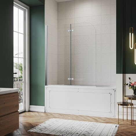 SIRHONA Pare-baignoire 120x140cm pivotant 180 degrés en 6mm verre trempé anticalcaire Easy-clean glass porte de baignoire paroi de baignoire