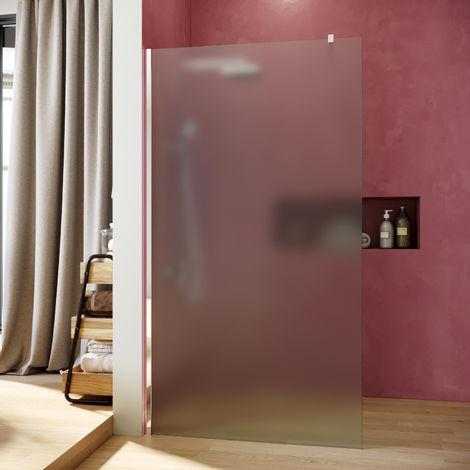SIRHONA Paroi de douche à l'italienne avec opaque 100x195cm + bac à douche160x80cm et raccord de drainPorte de douche avec barre de stabilisation Cabine de douche en verre NANO opaque 8mm, Salle de douche