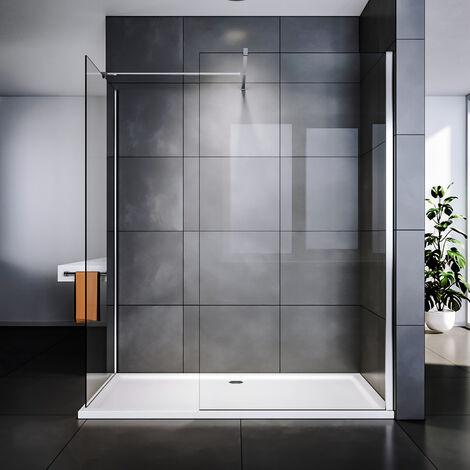 SIRHONA Paroi de douche à l'italienne Porte de douche avec barre de stabilisation Vitre de douche