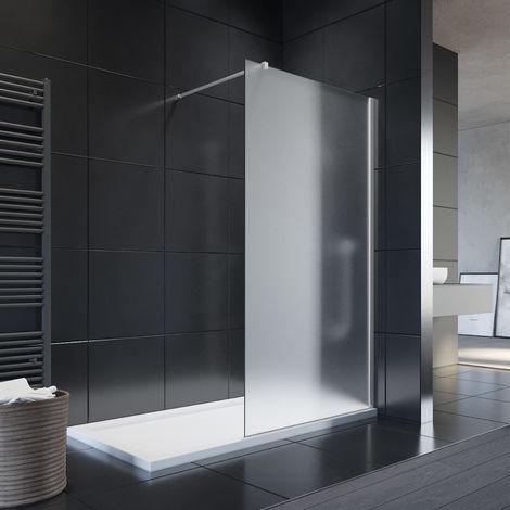 SIRHONA Paroi de douche à l'italienne, Verre trempé 8mm,transparent/satiné/satiné central à votre choix,70/80/90/100/110/120