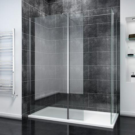 SIRHONA Paroi de douche l'italienne avec panneau de verre de 30 cm Porte de douche avec barre de fixation, 8mm verre trempé la porte douche