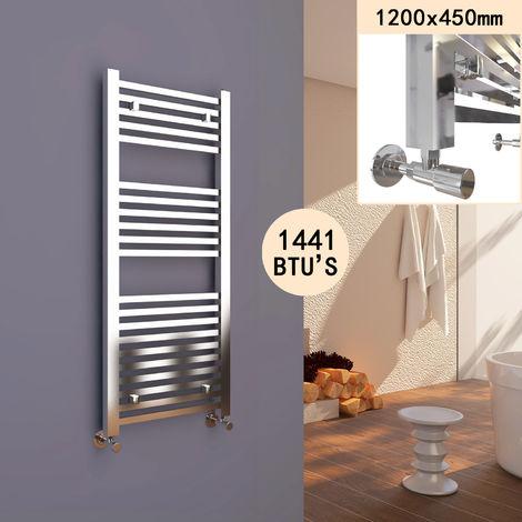 SIRHONA Radiateur sèche-serviettes à tube carré 1200 x 450 mm pour salle de bains Chauffe-Serviette Radiateur à eau chaude Porte Serviettes mural