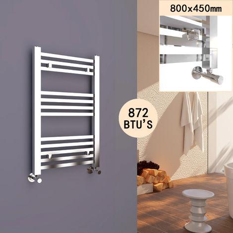 SIRHONA Radiateur sèche-serviettes à tube carré 800 x 450 mm pour salle de bains Chauffe-Serviette Radiateur à eau chaude Porte Serviettes mural