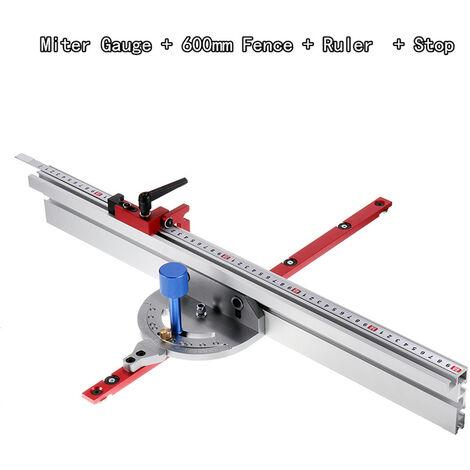 Sistema de calibre de inglete en ángulo de 0-90 grados para carpintería (calibre de inglete con guía y tope de 600 mm)