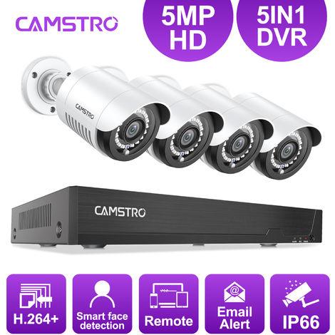 Sistema de cámara de seguridad CCTV 5MP-N con 5-en-1 5MP-N H.264 + DVR y 4 * 5MP cámaras de seguridad para interiores / exteriores - No contiene un disco duro