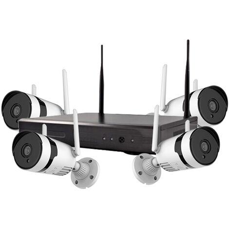 Sistema de camara de seguridad inalambrica de 3MP, 8CH NVR Camara de vigilancia WiFi para exteriores de 4 piezas con vision nocturna, resistente al agua, alerta de movimiento, acceso remoto, audio bidireccional, sin disco duro