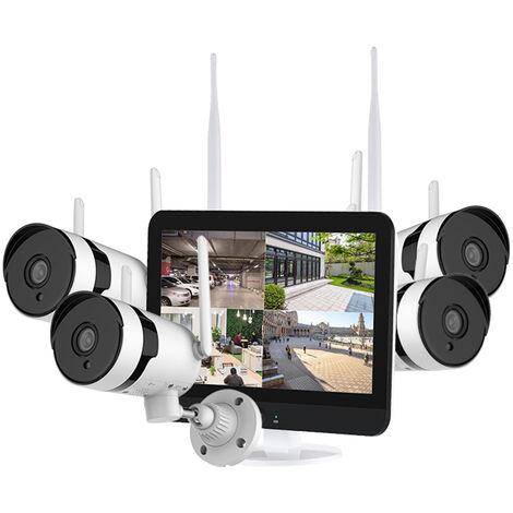 Sistema de camara de seguridad inalambrica de 3MP con monitor de 12 pulgadas, NVR de video de 8 canales con 4pcs 3MP Camara IP de vigilancia para el hogar en interiores y exteriores Vision nocturna Deteccion de movimiento Acceso remoto
