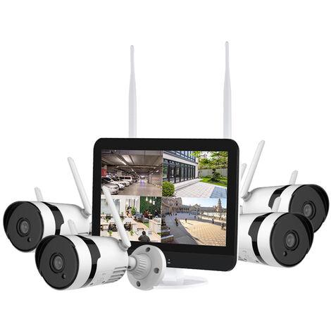 Sistema de camara de seguridad inalambrica todo en uno con monitor LCD de 12 '', NVR de 3 MP y 8 canales + 4 camaras de vigilancia WiFi impermeables para exteriores con acceso remoto a la aplicacion, vision nocturna, fuente de alimentacion enchufable, sin