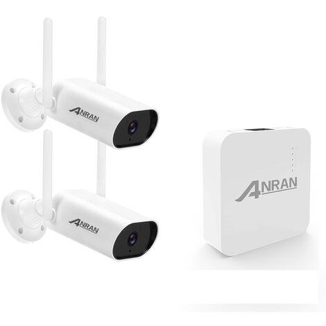 Sistema de camara de vigilancia inalambrica de 5MP con audio, NVR de 4 canales + 2 camaras de seguridad WiFi de 5MP que admiten vision nocturna, deteccion de movimiento, acceso remoto, IP66 a prueba de agua