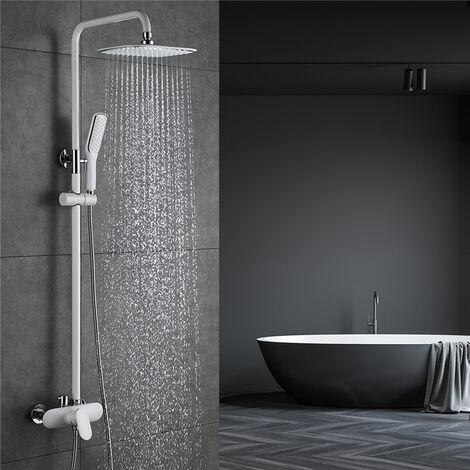 Sistema de ducha blanco Juego de ducha de lluvia con cabezal de ducha y ducha de mano grifo de ducha con ducha fija para baño DESFAU