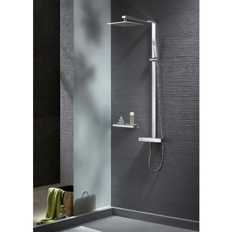 Sistema de ducha combinado termostático NT6705C con flexo y ducha de mano - con o sin cabezal de ducha cuadrada