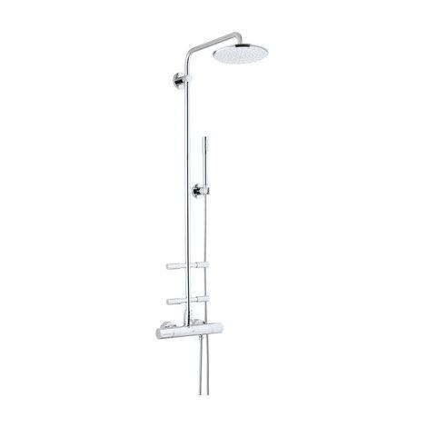 Sistema de ducha de lluvia Grohe Rainshower con ducha mural metálica Cosmopolitan 210 y duchas laterales - 27374000