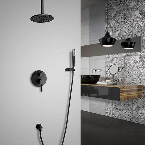 Sistema de ducha de lluvia termostático redondo en techo con set de ducha de latón macizo Válvula de ducha estándar con soporte de pared 250 mm