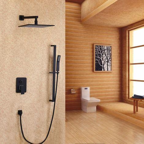 Sistema de ducha de mano de pared con ducha de mano y tobogán en negro de 300 mm