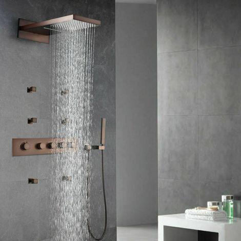 Sistema de ducha de mano termostático con sistema de ducha efecto lluvia y chorros de cobre.