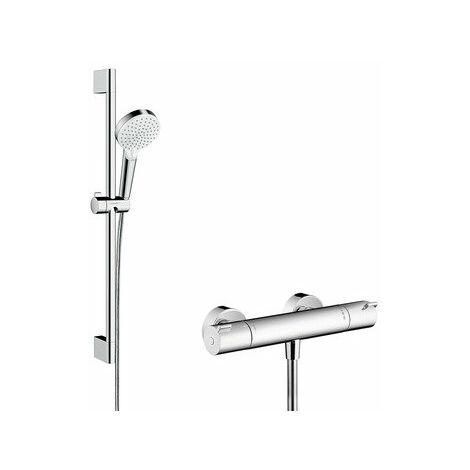 Sistema de ducha de superficie Hansgrohe Crometta Vario con Ecostat 1001 CL termostato y barra de ducha 65 cm, 27812400, blanco/cromo - 27812400