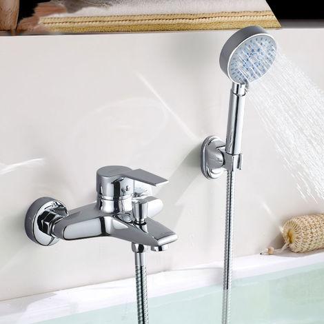 Sistema de ducha Monomando Ducha con Ducha de Mano y Grifo de Ducha Grifería De Ducha Latón Cromado