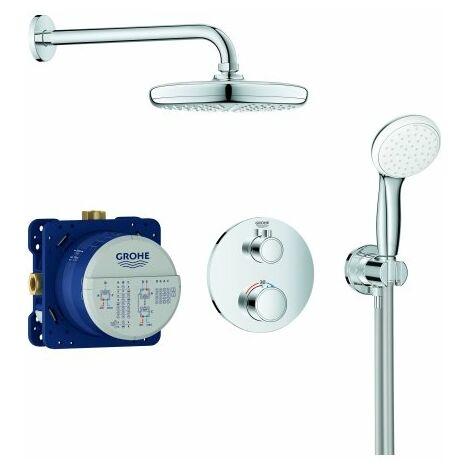 Sistema de ducha oculta Grohe Grohtherm con ducha de cabeza Tempesta 210, desviador integrado de 2 vías, 2 consumidores, cromo - 34727000