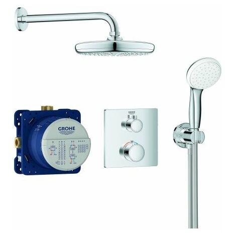 Sistema de ducha oculta Grohe Grohtherm con ducha de cabeza Tempesta 210, desviador integrado de 2 vías, 2 consumidores, cromo - 34729000
