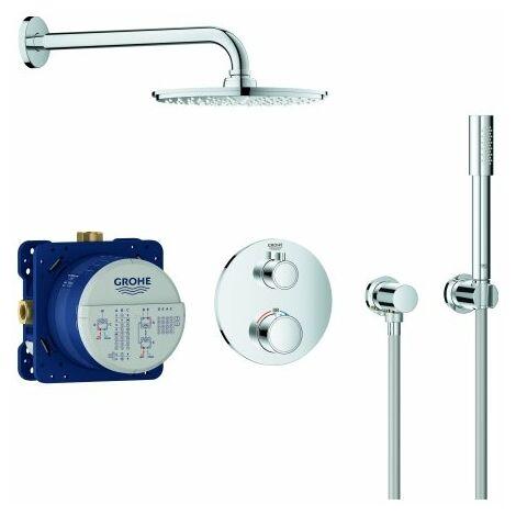 Sistema de ducha oculta Grohe Grohtherm con Rainshower Cosmopolitan 210, desviador integrado de 2 vías, 2 consumidores, cromo - 34732000