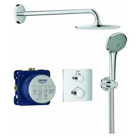 Sistema de ducha oculta Grohe Grohtherm con Rainshower Cosmopolitan 210, desviador integrado de 2 vías, 2 consumidores, cromo - 34734000